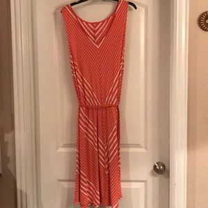 Beautiful Ava & Viv Coral Striped Sleeveless Dress